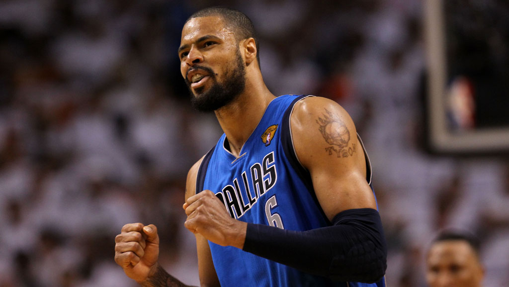 MIAMI, FL - JUNE 12: Tyson Chandler #6 of the Dallas Mavericks reacts against the Miami Heat in the third quarter of Game Six of the 2011 NBA Finals at American Airlines Arena on June 12, 2011 in Miami, Florida. (Photo by Ronald Martinez/Getty Images)