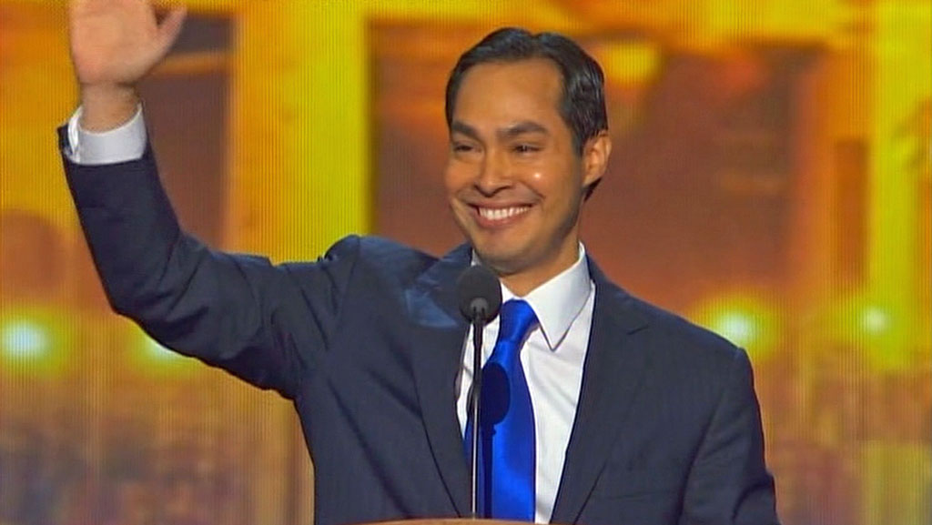 San Antonio Mayor Julian Castro addresses the Democratic National Convention in Charlotte, North Carolina on September 4.