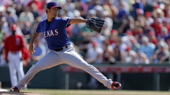 Texas Rangers starter Yu Darvish pitches against the Los Angeles Angels at Tempe Diablo Stadium in Tempe, Ariz., on Tuesday, March 4, 2014. The Angels defeated the Rangers, 7-4, in a Cactus League game. (Rodger Mallison/Fort Worth Star-Telegram/MCT via Getty Images)