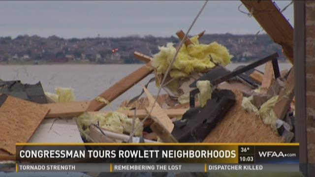 Rep. Pete Sessions toured the damage as efforts continue to provide relief to victims of Saturday's devastating storm.