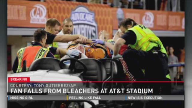 Fan falls from stands at AT&T Stadium.
