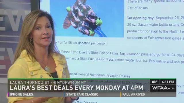 Our discount guru Laura Thornquist joined News 8 at 4 Monday to talk about ways to get in to the State Fair of Texas and a couple of other local events on the cheap! For more deals from Laura, visit her website, mydallasmommy.com.
