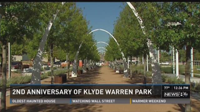 Klyde Warren Park, which was built on top of  Woodall Rodgers Freeway in Dallas, opened to the public on Saturday.
