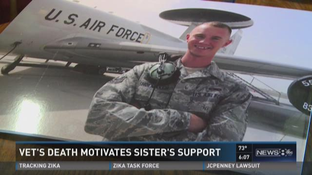 Vet's death motivates sister's support