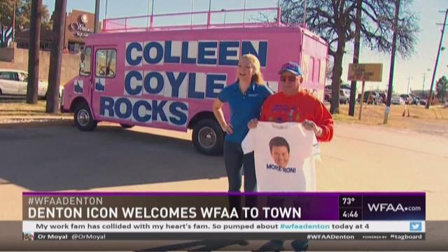 Denton icon welcomes WFAA to town