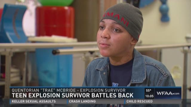 Teen explosion survivor battles back