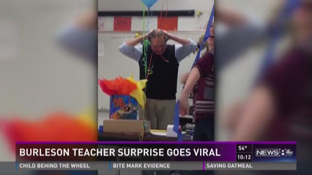 Burleson teacher surprise goes viral