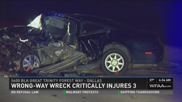 Wrong-way wreck critically injures three