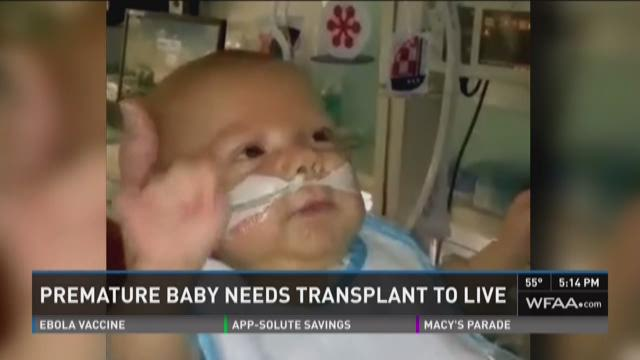 Premature baby needs transplant to live