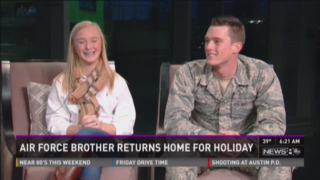 Air Force brother surprises sister on Thanksgiving