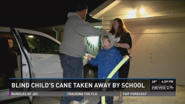 Family furious after school gives blind boy pool noodle for cane
