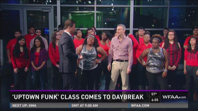 'Uptown Funk' students dance live on Daybreak