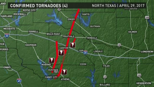 Map Of Tornadoes In Texas Yesterday.Map Of Confirmed Tornadoes In East Texas Wfaa Com