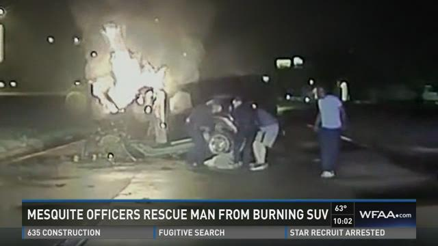 Mesquite officers rescue man from burning SUV