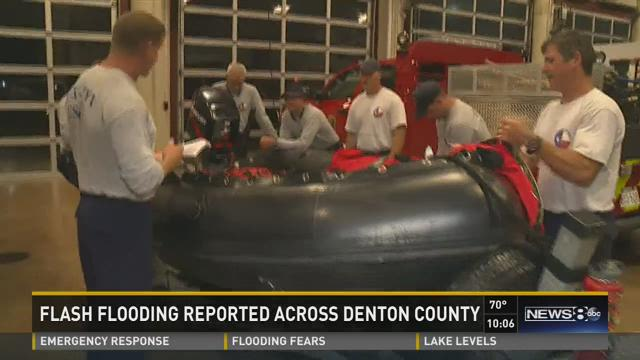 First responders were fanned out across Denton County on Saturday night ready to make high-water rescues.