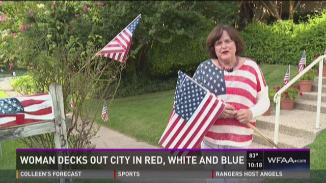 Woman decks out city in red, white, and blue