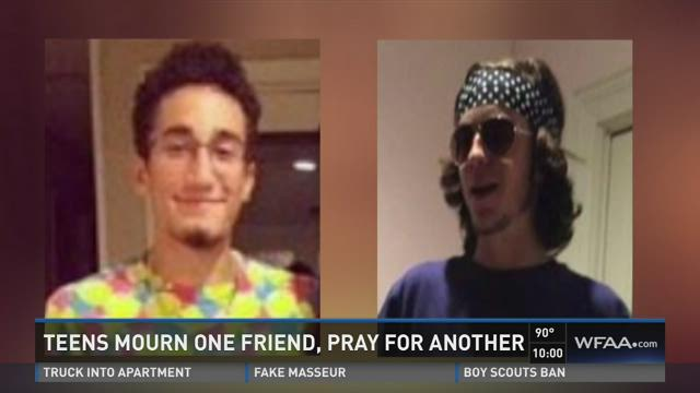 Teens mourn one friend, pray for another