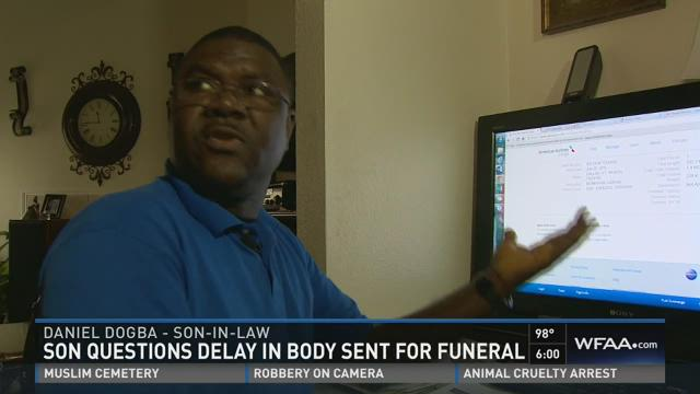 Son questions delay in body sent for funeral