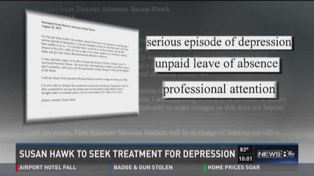 Dallas DA is being treated for depression
