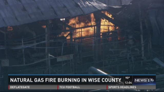 Natural gas fire burning in Wise County