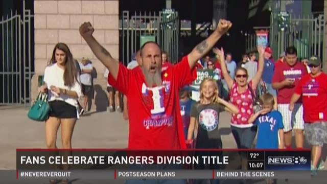 Fans celebrate Rangers' division title