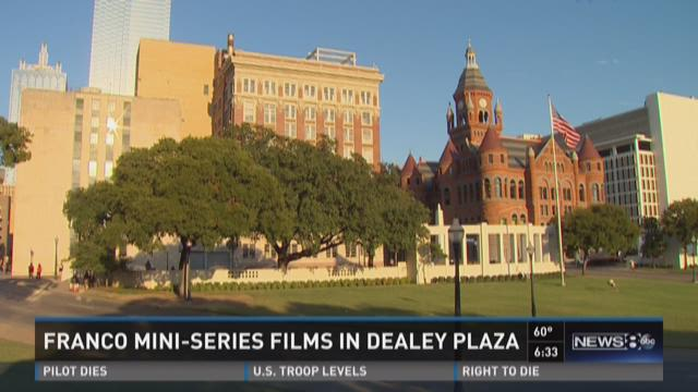 Actors gather in Dealey Plaza for mini-series shoot