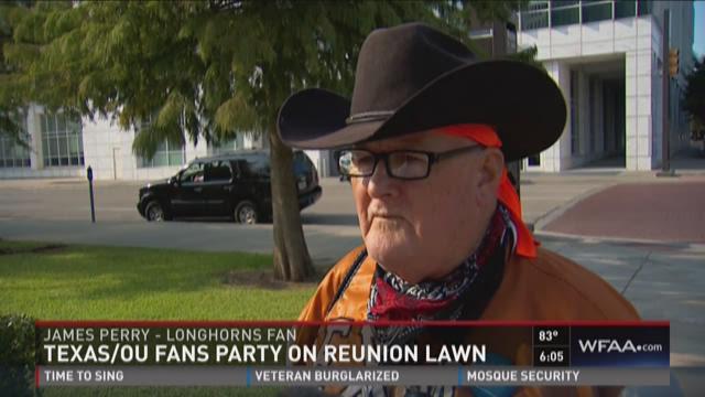 Texas/OU fans party on Reunion lawn
