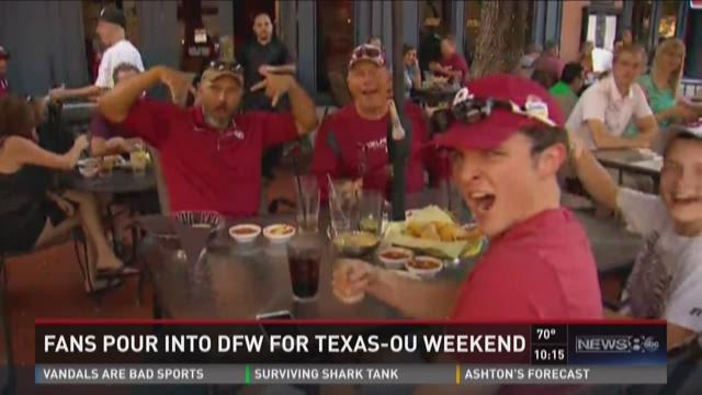 Fans pour into DFW for Texas-OU weekend