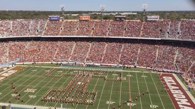 TIME LAPSE: Texas, OU bands perform during Red River Showdown