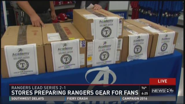 Stores prepare Rangers ALDS champion gear for fans